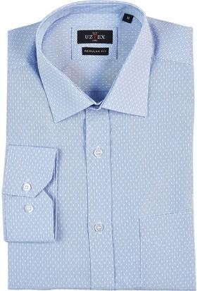 Uztex 1942 City Armür Klasik Yaka Uzun Kol Mavi Gömlek