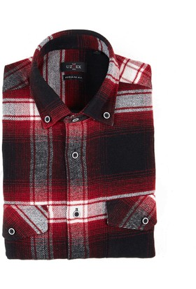 Uztex 1962 Oduncu Ekose Uzun Kol Bordo Gömlek