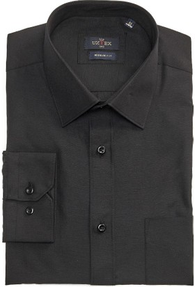 Uztex 1141 Dacron Klasik Yaka Uzun Kol Siyah Gömlek