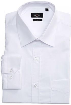 Uztex 1141 Dacron Klasik Yaka Uzun Kol Beyaz Gömlek