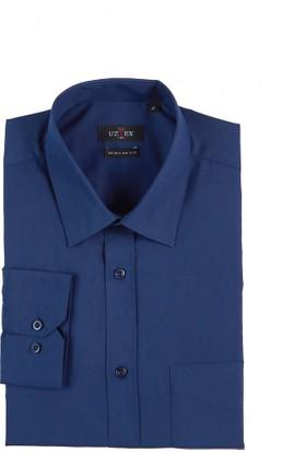 Uztex 1141 Dacron Klasik Yaka Uzun Kol Lacivert Gömlek