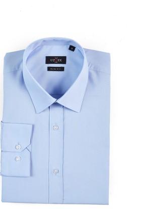 Uztex 1058 Dacron Slim Klasik Yaka Uzun Kol Mavi Gömlek