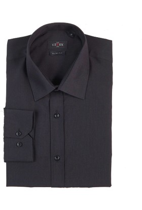 Uztex 1058 Dacron Slim Klasik Yaka Uzun Kol Siyah Gömlek