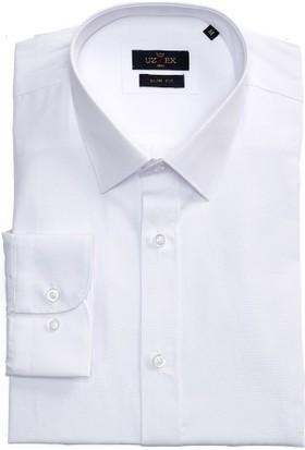 Uztex 1058 Dacron Slim Klasik Yaka Uzun Kol Beyaz Gömlek