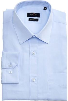 Uztex 1812 Cvc Klasik Fit Klasik Yaka Uzun Kol Mavi Gömlek