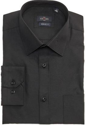 Uztex 1812 Cvc Klasik Fit Klasik Yaka Uzun Kol Siyah Gömlek