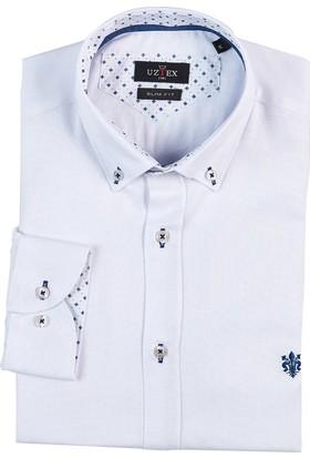 Uztex 1949 Blu Dream Oxford Slım Uzun Kol Beyaz Gömlek
