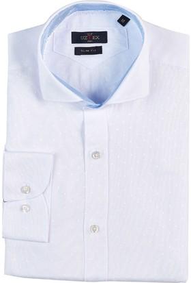 Uztex 1950 Bonaventura Armür Şamre İtalyan Yaka Slım Uzun Kol Beyaz Gömlek