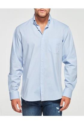 Uztex 1947 Premium Klasik Uzun Kol Mavi Gömlek
