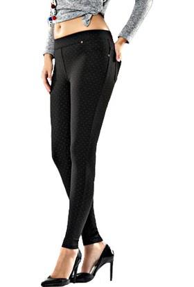 Enm Şardonlu Çelik Desenli Kışlık Kumaş Kadın Tayt Pantolon