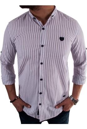 Negro Çizgili Beyaz Erkek Spor Gömlek