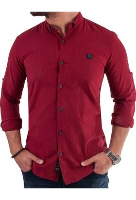 Negro Çizgili Kırmızı Erkek Spor Gömlek