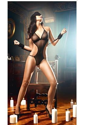 Bacio Fantazi Siyah Maskeli Kelepçeli seksi Gecelik İç Giyim