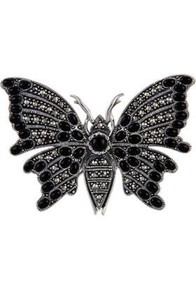 Tevuli Gümüş 925 Ayar Markazit & Akik Taşlı Kelebek Broş