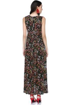 Cream&Rouge 17Y257 Viskon Çıtır Desenli Uzun Elbise