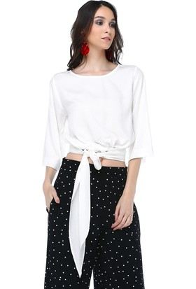 Cream&Rouge 18Y205 Bluz Kısa Bağlamalı