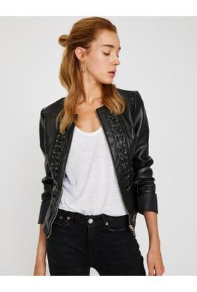 Koton Kadın Deri Görünümlü Ceket