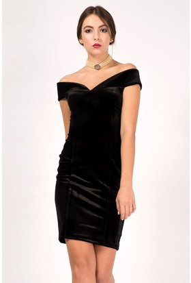 İroni Kadife Kayık Yaka Dar Siyah Mini Elbise