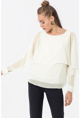 İroni Yarasa Kol Beyaz Şifon Bluz