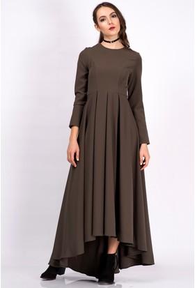 İroni Uzun Kollu Pilili Haki Uzun Elbise