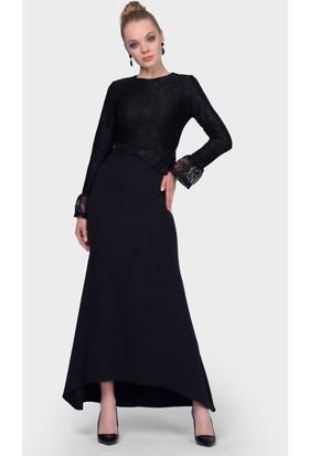 a9bc7eb94d19a ... İroni Üstü Dantel Balık Siyah Abiye Elbise