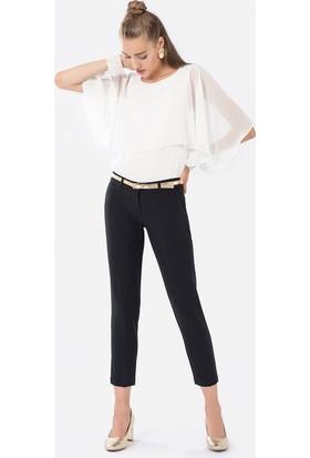 İroni Kemerli Dar Paça Siyah Pantolon - 1581 - 891A Siyah