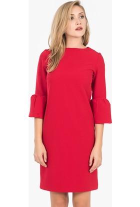İroni İspanyol Kollu Mini Elbise - 5056 - 891 Kırmızı