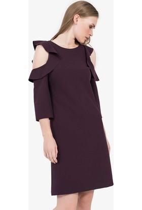 İroni Omuz Fırfırlı Elbise - 5147 - 891 Mürdüm
