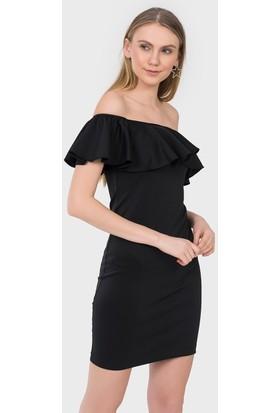 İroni Fırfırlı Straplez Dar Mini Elbise - 5152 - 966 Siyah