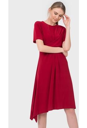 İroni Bel Düğümlü Elbise - 5157 - 284 Kırmızı