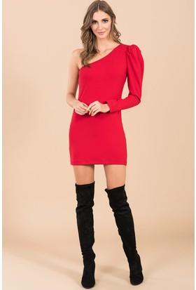 İroni Tek Omuzlu Mini Elbise - 5163 - 1202 Kırmızı