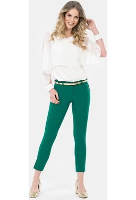 İroni Kemerli Dar Paça Yeşil Pantolon - 1581-891A Yeşil