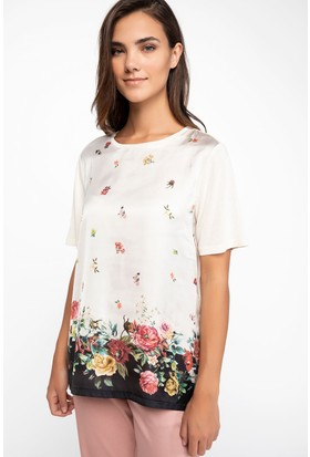 Defacto Kadın Floral Desenli Tshirt