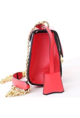 Biggi 1205 Kadın Postacı Çanta Kırmızı Desenli