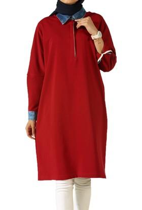 Allday P51699 Kadın Kt Grnl Tunik Kırmızı
