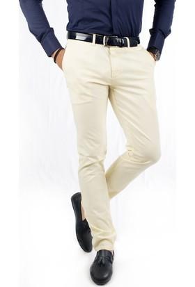 Deepsea Sarı İtalyan Kesim Yazlık Kumaşı Desenli Erkek Keten Pantolon 1802630
