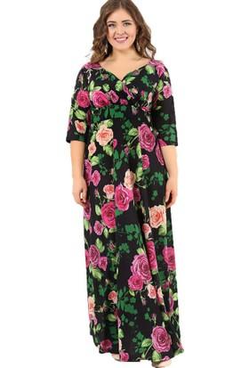 Angelino Butik Dd2408 Komple Gül Desenli Büyük Beden Abiye Elbise
