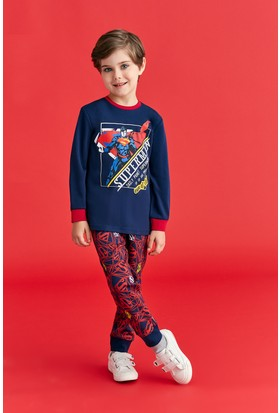 Superman Lisanslı Erkek Çocuk Pijama Takımı Lacivert