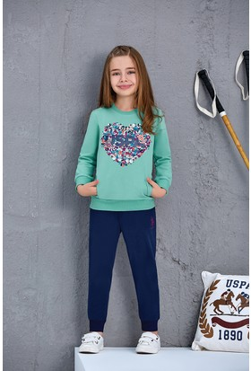 U.S. Polo Assn. Kız Çocuk 2'Li Takım Mint