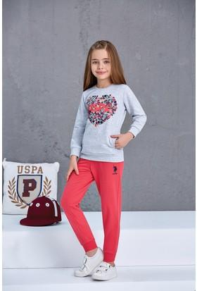 U.S. Polo Assn. Kız Çocuk 2'Li Takım Gri