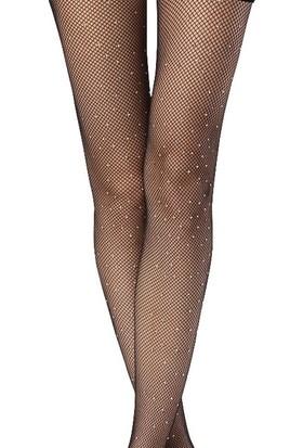 Hane14 Rete Kristal Taşlı File Külotlu Çorap Siyah