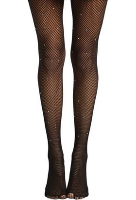 Hane14 Renkli Kristal Taşlı File Külotlu Çorap Siyah