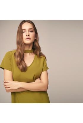 Ribellion Choker Yakalı, Sırtta Kontrast Fermuarlı, Geniş Kalıp Elbise Yağ Yeşili M 18Yke152