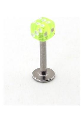 Solfera Fosforlu Yeşil Zar Şeklinde Çene İçin Çelik Piercing P404