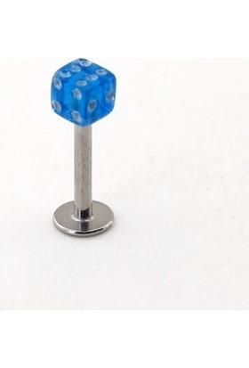 Solfera Lacivert Zar Şekilli Çene İçin Çelik Piercing P405