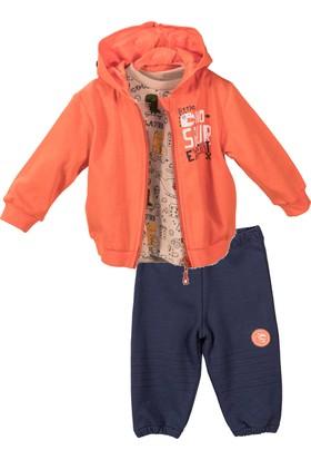 Zeyland Küçük Erkek Çocuk Tshirt Kapişonlu Sweatshirt Tek Alt Takım