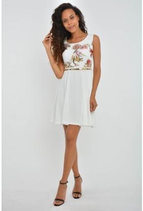 Espenica 3873 Ale Dalgıç Krep Transfer Baskılı Elbise