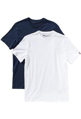 Levi's 2 Li Paket Erkek T-Shirt Beyaz Mavi 82176-0004