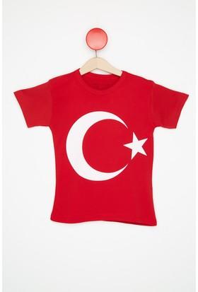 FullaModa Kız Çocuk Türk Bayraklı Tshirt