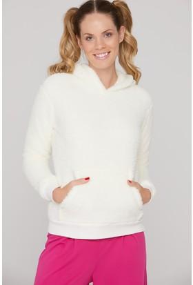 FullaModa Kapüşonlu Cepli Peluş Sweatshirt
